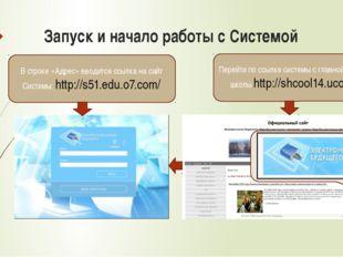 Запуск и начало работы с Системой В строке «Адрес» вводится ссылка на сайт Си
