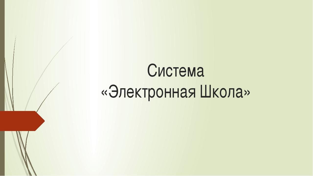 Система «Электронная Школа»
