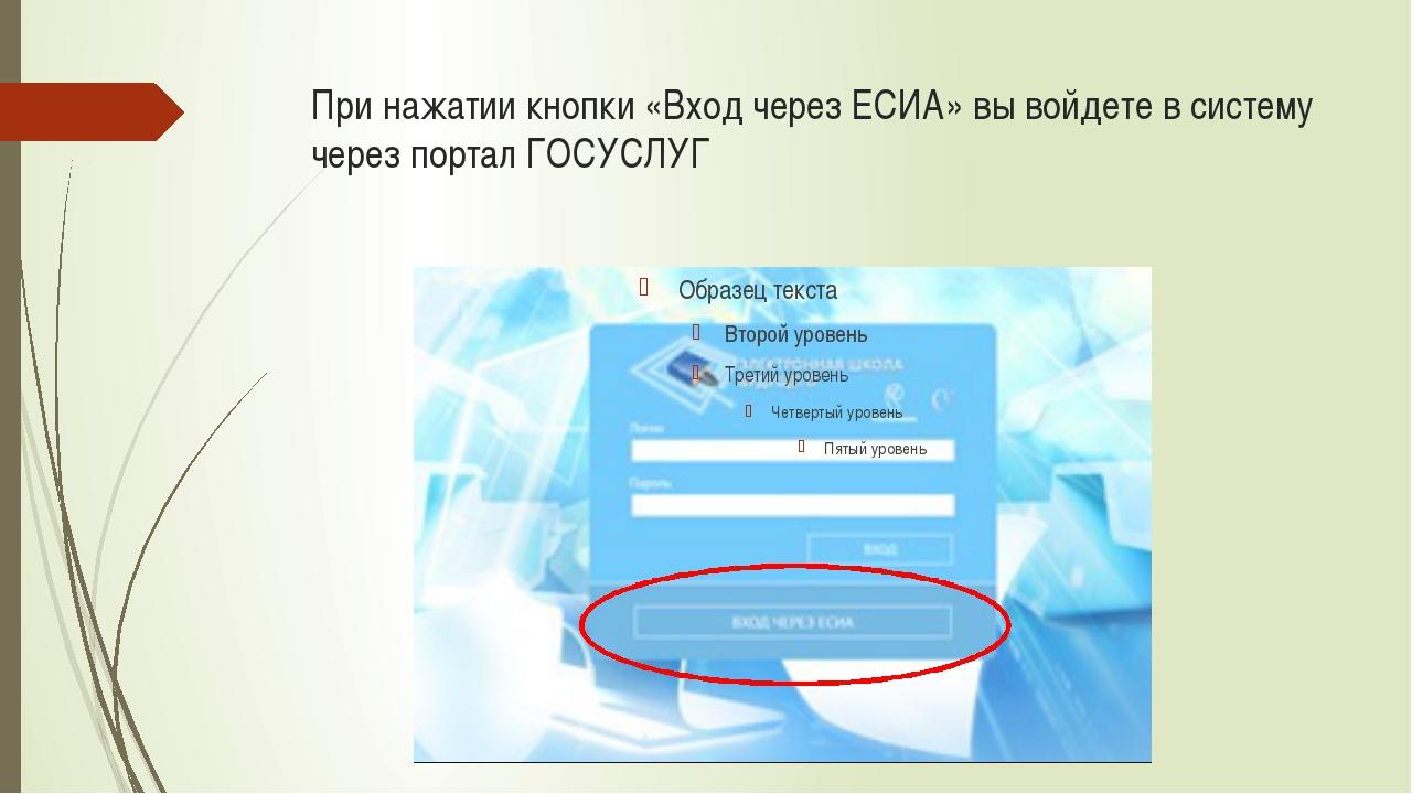 При нажатии кнопки «Вход через ЕСИА» вы войдете в систему через портал ГОСУСЛУГ