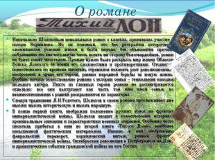 О романе Изначально Шолоховым замышлялся роман о казаках, принявших участие в