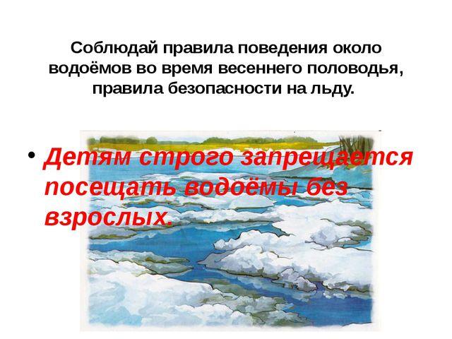 Соблюдай правила поведения около водоёмов во время весеннего половодья, прави...