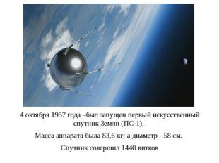 4 октября 1957 года –был запущен первый искусственный спутник Земли (ПС-1). М