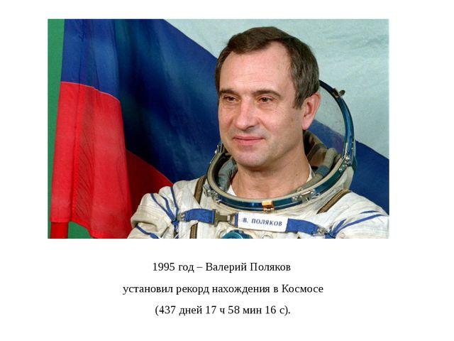 1995 год – Валерий Поляков установил рекорд нахождения в Космосе (437 дней 17...