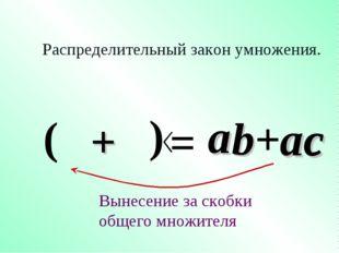b a a Распределительный закон умножения. = +ac Вынесение за скобки общего мно