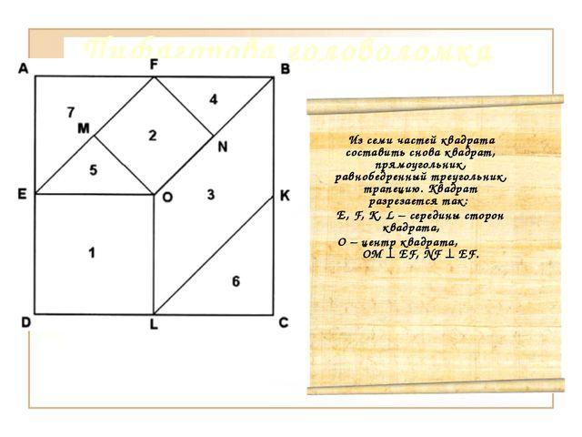 Пифагорова головоломка Из семи частей квадрата составить снова квадрат, прямо...