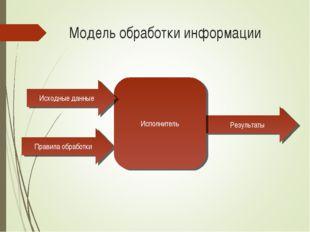 Модель обработки информации Правила обработки Результаты Исполнитель Исходные