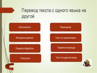 Перевод текста с одного языка на другой Исполнитель Переводчик Текст на одном