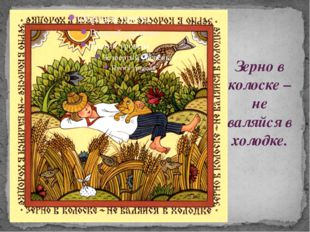 Зерно в колоске – не валяйся в холодке.