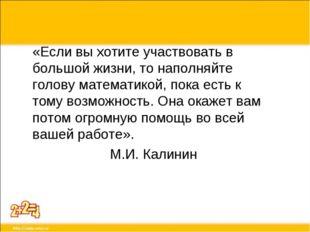 «Если вы хотите участвовать в большой жизни, то наполняйте голову математикой