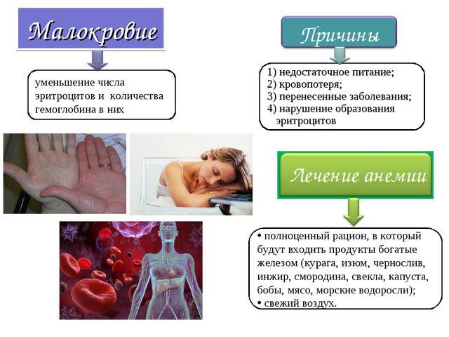 Малокровие уменьшение числа эритроцитов и количества гемоглобина в них полноц...