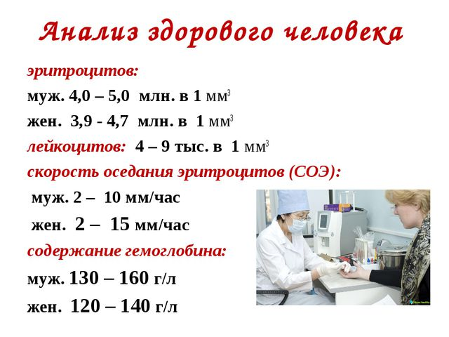 Анализ здорового человека эритроцитов: муж. 4,0 – 5,0 млн. в 1 мм3 жен. 3,9 -...