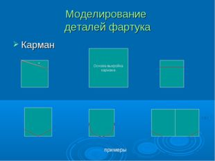 Моделирование деталей фартука Карман Основа-выкройка кармана - примеры