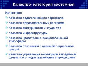 Качество- категория системная Качество: Качество педагогического персонала Ка