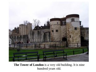 The Tower of London is a very old building. It is nine hundred years old.