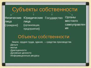 Субъекты собственности Объекты собственности - Земля, орудия труда, здания, –