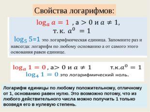 Свойства логарифмов: Логарифм единицы по любому положительному, отличному от
