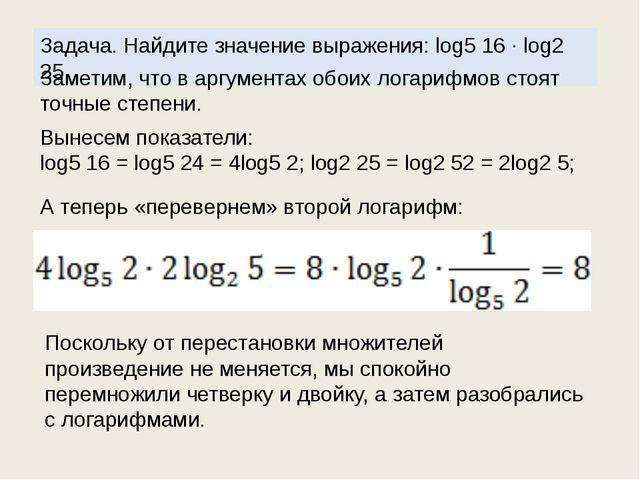 Задача. Найдите значение выражения: log5 16 · log2 25. Заметим, что в аргумен...