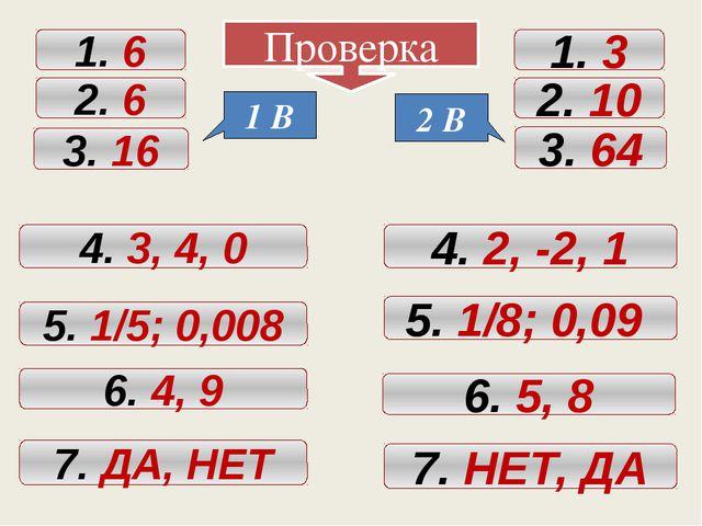 Проверка 1. 6 2. 6 3. 16 4. 3, 4, 0 5. 1/5; 0,008 6. 4, 9 7. ДА, НЕТ 1. 3 2....