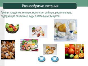 Разнообразие питания Группы продуктов: мясные, молочные, рыбные, растительные