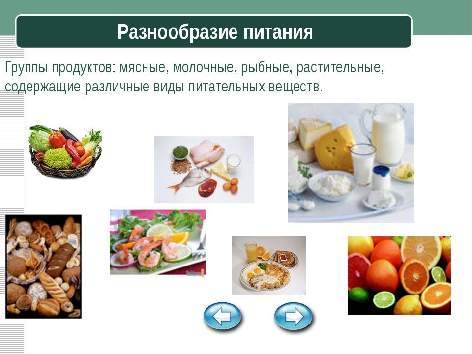 Разнообразие питания Группы продуктов: мясные, молочные, рыбные, растительные...