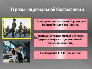 Угрозы национальной безопасности Незавершённость военной реформы Вооружённых