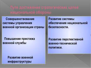 Пути достижения стратегических целей национальной обороны Совершенствование с