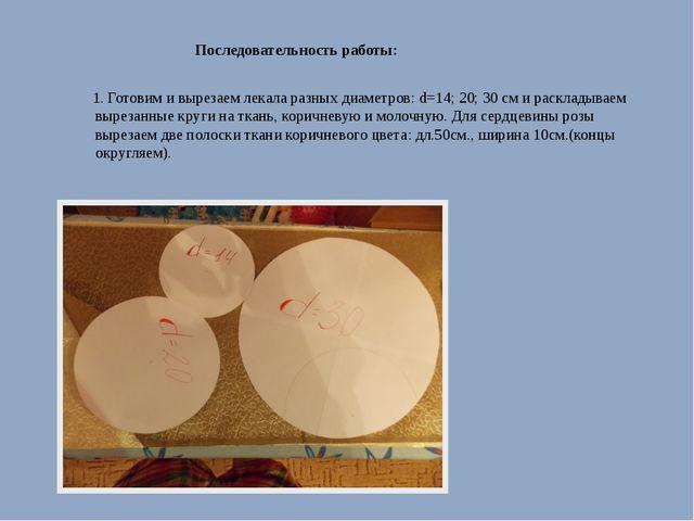 Последовательность работы: 1. Готовим и вырезаем лекала разных диаметров: d=...