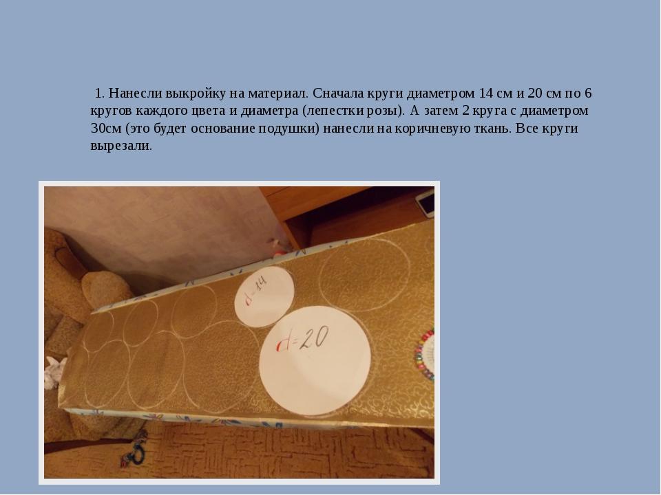 1. Нанесли выкройку на материал. Сначала круги диаметром 14 см и 20 см по 6...