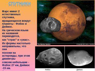 Марс имеет 2 естественных спутника, вращающихся вокруг планеты - Фобос и Дейм