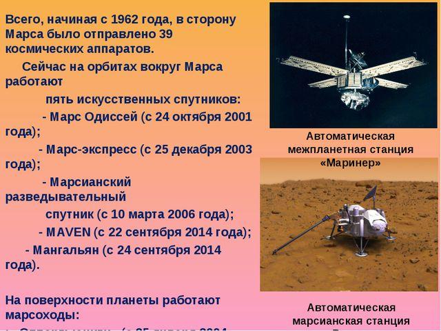 Всего, начиная с 1962 года, в сторону Марса было отправлено 39 космических ап...