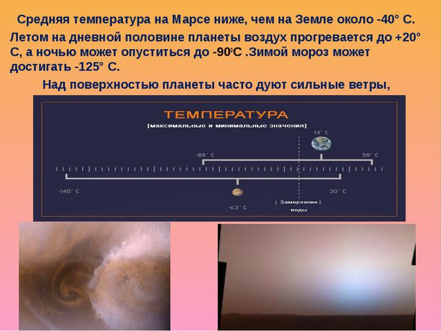 Средняя температура на Марсе ниже, чем на Земле около -40° С. Летом на дневно...