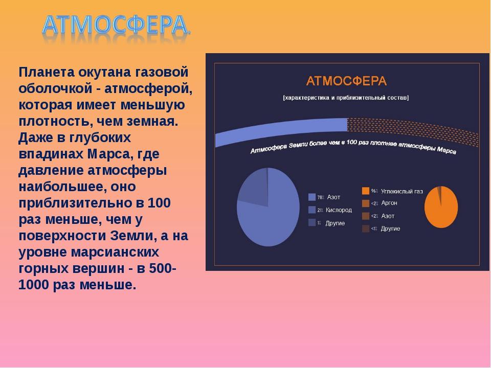 Планета окутана газовой оболочкой - атмосферой, которая имеет меньшую плотнос...