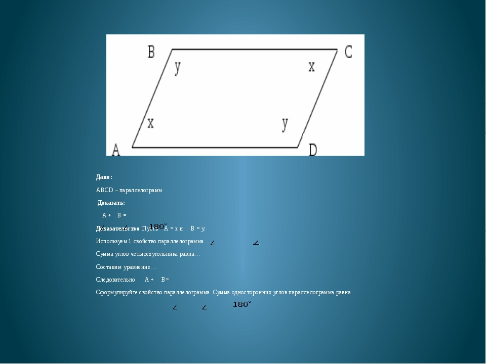 Дано: ABCD – параллелограмм Доказать: A + B = Доказательство: Пусть А = х и...