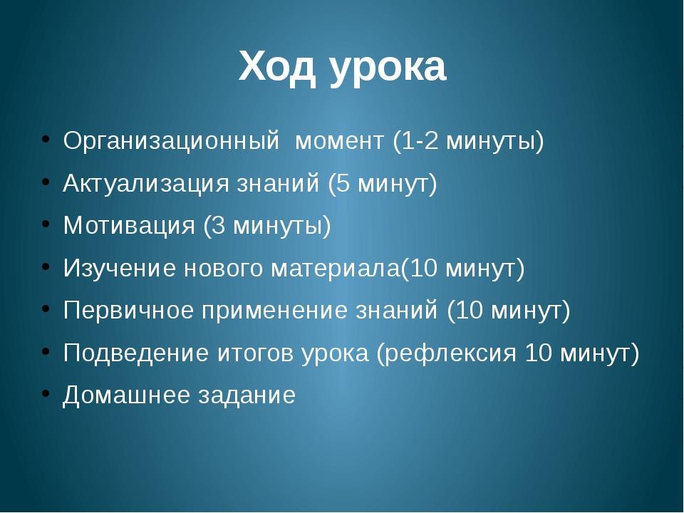 Ход урока Организационный момент (1-2 минуты) Актуализация знаний (5 минут) М...