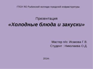 Презентация «Холодные блюда и закуски» Мастер п/о: Исакова Г.В. Студент : Ник