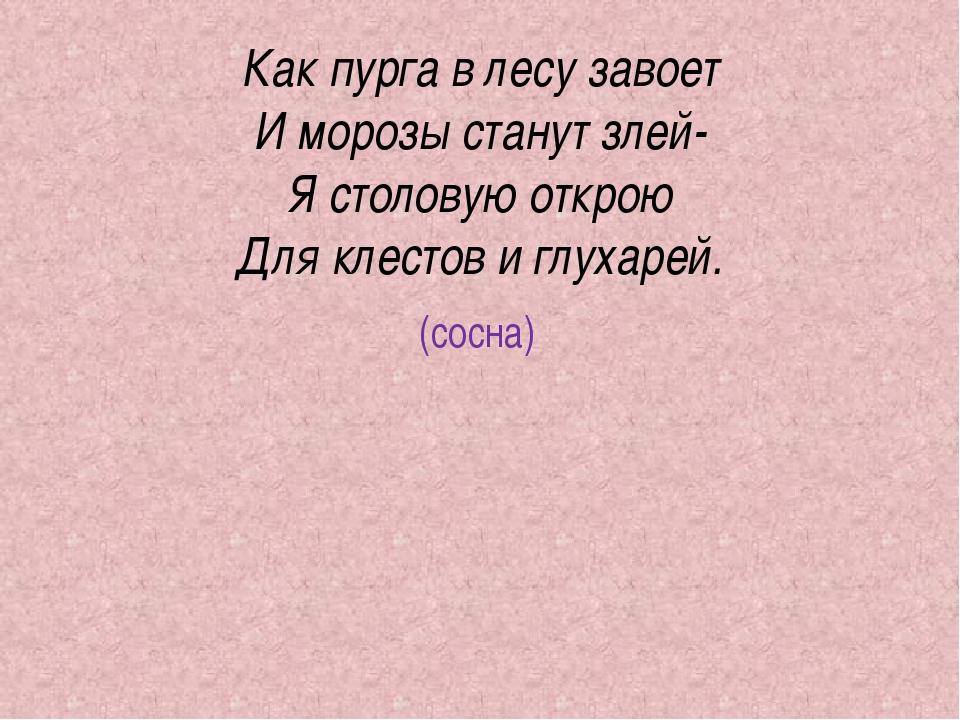 Как пурга в лесу завоет И морозы станут злей- Я столовую открою Для клестов и...