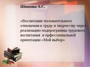 Шишова А.С. «Воспитание положительного отношения к труду и творчеству через р