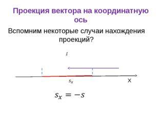 Проекция вектора на координатную ось Вспомним некоторые случаи нахождения про