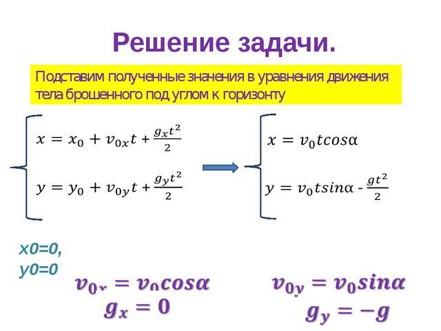 Решение задачи. Подставим полученные значения в уравнения движения тела броше...