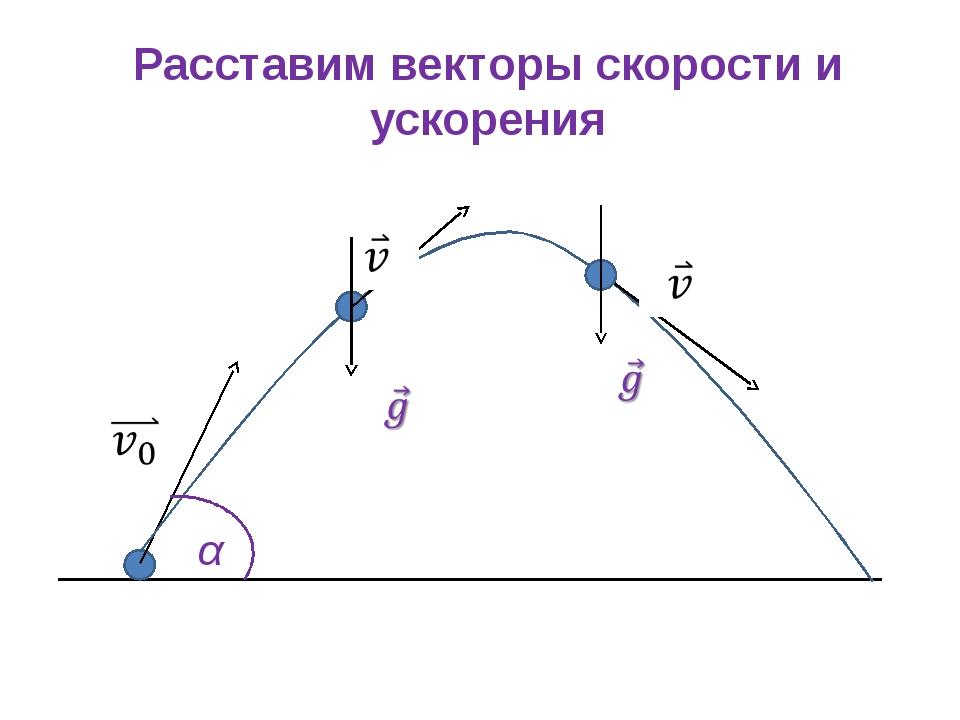 Расставим векторы скорости и ускорения α