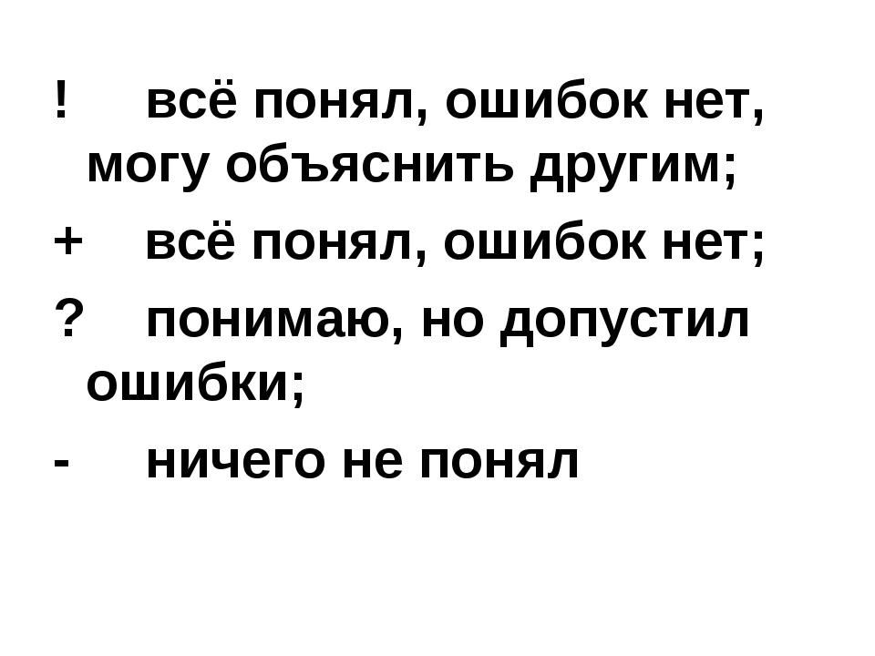 ! всё понял, ошибок нет, могу объяснить другим; + всё понял, ошибок нет; ? по...