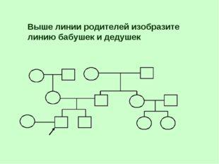 Выше линии родителей изобразите линию бабушек и дедушек