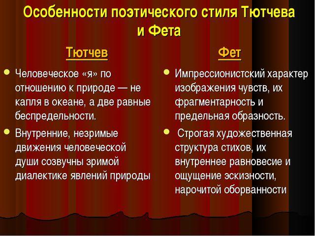 Особенности поэтического стиля Тютчева и Фета Тютчев Человеческое «я» по отно...