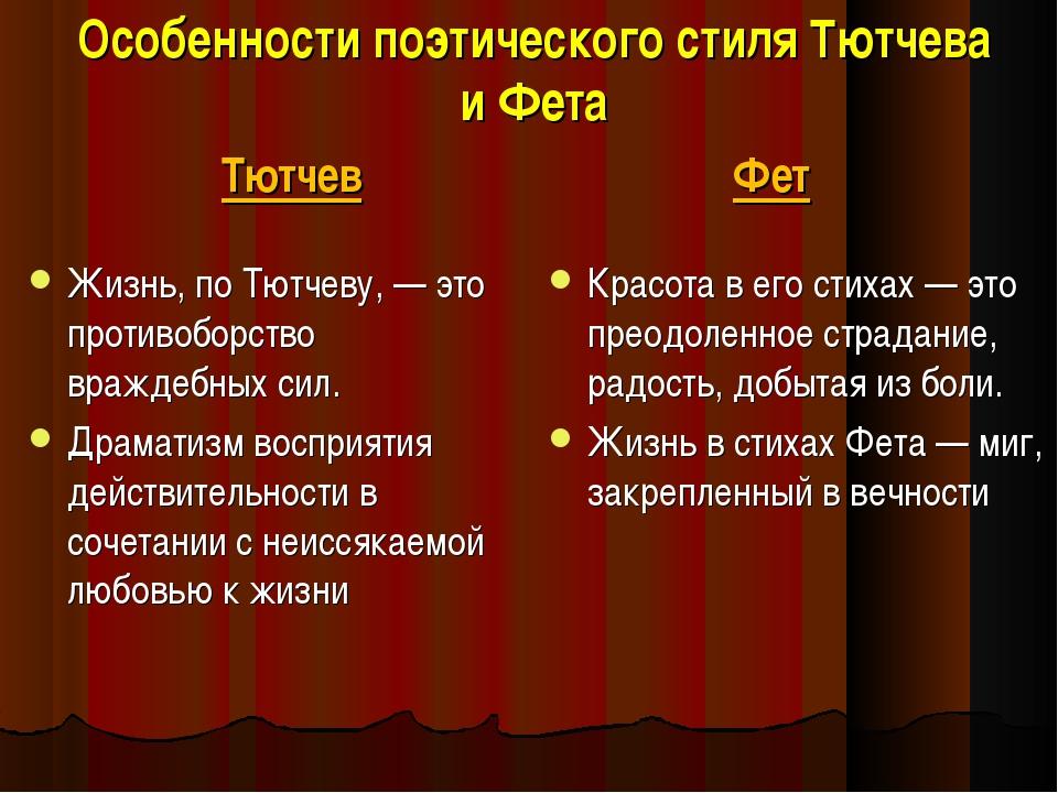 Особенности поэтического стиля Тютчева и Фета Тютчев Жизнь, по Тютчеву, — это...