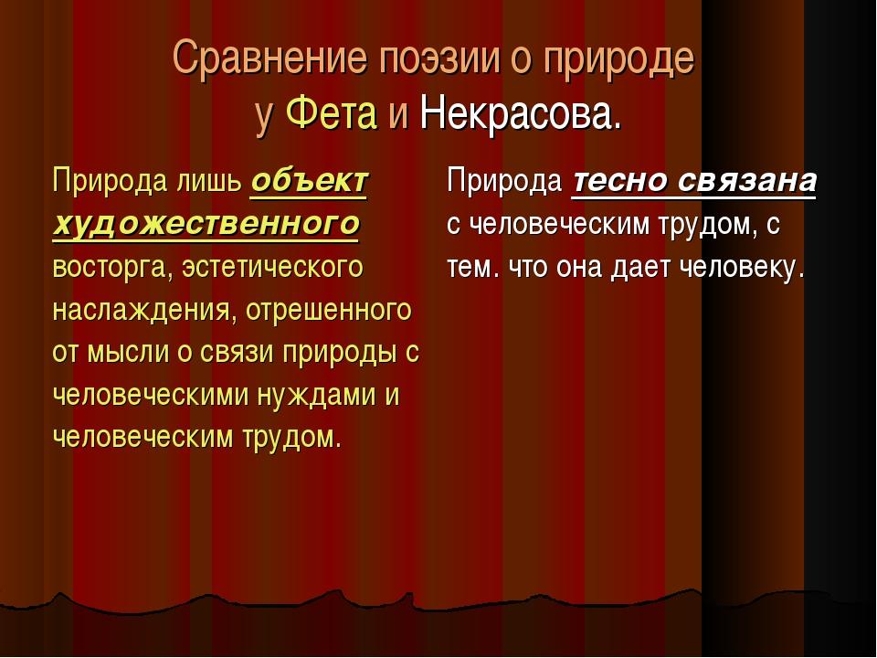 Сравнение поэзии о природе у Фета и Некрасова. Природа лишь объект художестве...