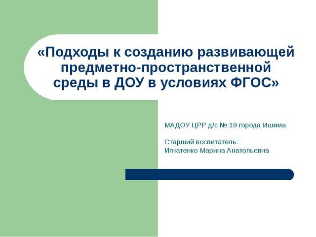 «Подходы к созданию развивающей предметно-пространственной среды в ДОУ в усло...
