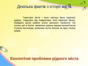 Екологічні проблеми рідного міста Декілька фактів з історії міста. Територія