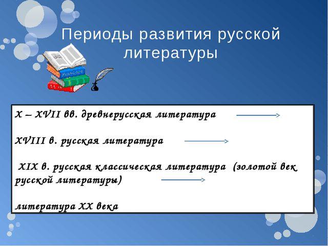X – XVII вв. древнерусская литература XVIII в. русская литература XIX в. русс...