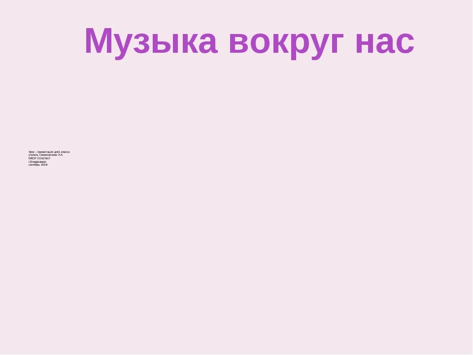 Урок – презентация для1 класса учитель Семенчатенко Л.А. МБОУ СОШ №17 г.Влад...