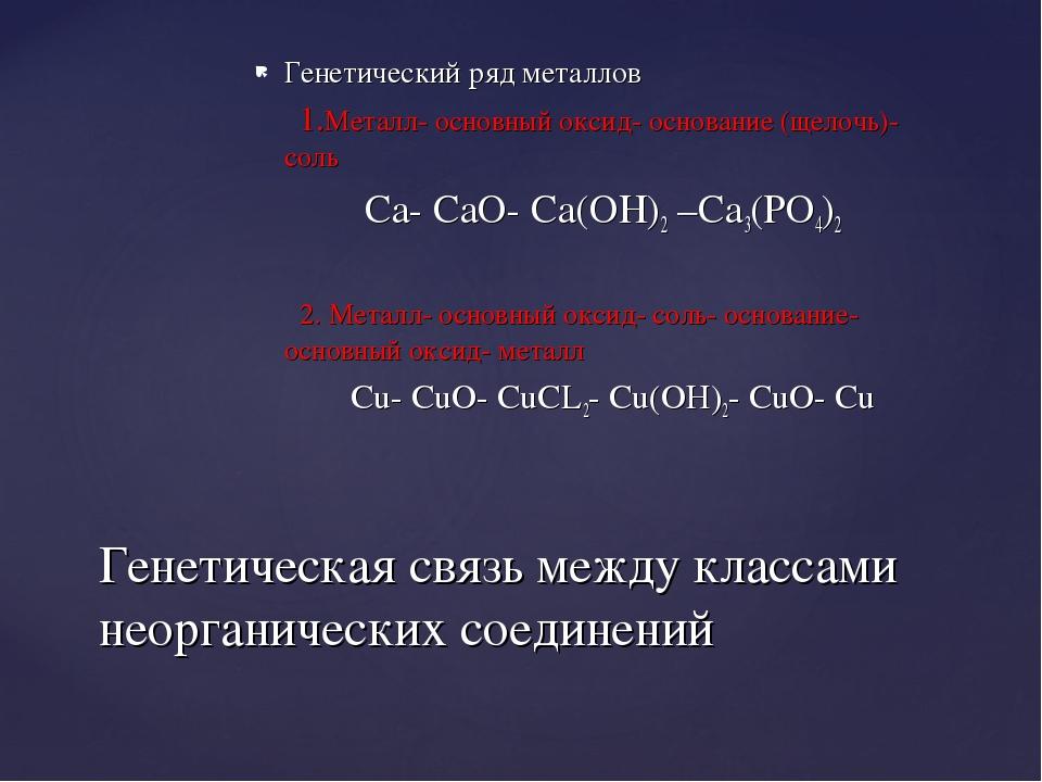 Генетический ряд металлов 1.Металл- основный оксид- основание (щелочь)- соль...